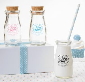 Personalized Baby Shower Glass Milk Bottles with Corks (Printed Glass) (Sky Blue, Gender Reveal)