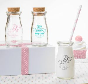 Personalized Baby Shower Glass Milk Bottles with Corks (Printed Glass) (White, Welcome Girl)