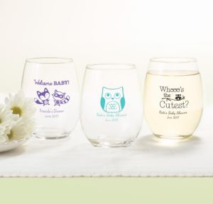 Personalized Baby Shower Stemless Wine Glasses 15oz (Printed Glass) (Robin's Egg Blue, Woodland)