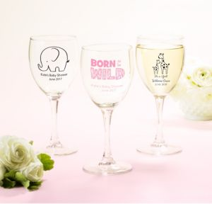 Personalized Baby Shower Wine Glasses (Printed Glass) (Pink, Pink Safari)