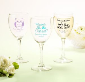 Personalized Baby Shower Wine Glasses (Printed Glass) (Robin's Egg Blue, Woodland)
