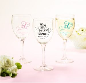 Personalized Baby Shower Wine Glasses (Printed Glass) (White, Welcome Girl)