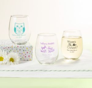 Personalized Baby Shower Stemless Wine Glasses 9oz (Printed Glass) (Black, Woodland)