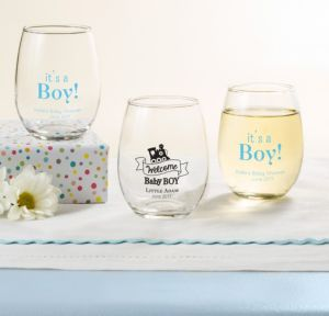 Personalized Baby Shower Stemless Wine Glasses 9oz (Printed Glass) (Black, Welcome Boy)