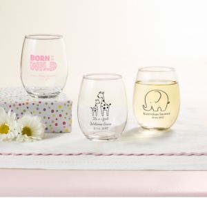 Personalized Baby Shower Stemless Wine Glasses 9oz (Printed Glass) (Pink, Pink Safari)