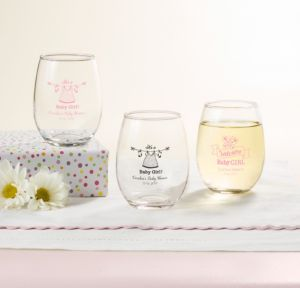 Personalized Baby Shower Stemless Wine Glasses 9oz (Printed Glass) (Pink, Shower Love Girl)