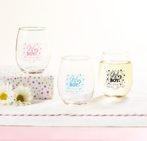 Personalized Baby Shower Stemless Wine Glasses 9oz (Printed Glass) (White, Gender Reveal)