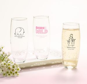 Personalized Baby Shower Stemless Champagne Flutes (Printed Glass) (Bright Pink, Pink Safari)