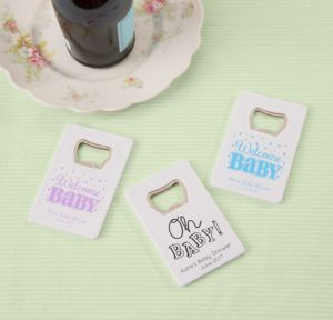 Personalized Baby Shower Credit Card Bottle Openers - White (Printed Plastic) (Black, Baby Brights)