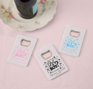 Personalized Baby Shower Credit Card Bottle Openers - White (Printed Plastic) (Black, Gender Reveal)
