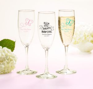 Personalized Baby Shower Champagne Flutes (Printed Glass) (Black, Welcome Girl)