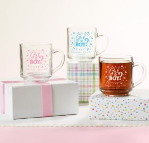 Personalized Baby Shower Glass Coffee Mugs (Printed Glass) (Black, Gender Reveal)