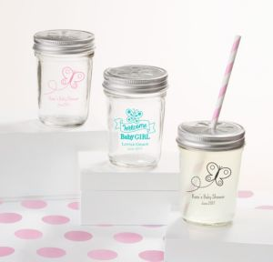 Personalized Baby Shower Mason Jars with Daisy Lids, Set of 12 (Printed Glass) (Black, Welcome Girl)
