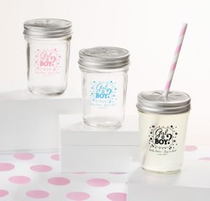 Personalized Baby Shower Mason Jars with Daisy Lids, Set of 12 (Printed Glass) (Black, Gender Reveal)