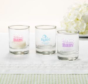 Personalized Baby Shower Shot Glasses (Printed Glass) (Black, Baby Brights)
