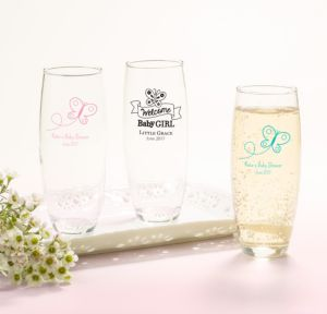 Personalized Baby Shower Stemless Champagne Flutes (Printed Glass) (Black, Welcome Girl)