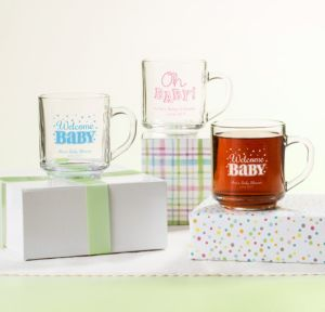 Personalized Baby Shower Glass Coffee Mugs (Printed Glass) (Lavender, Baby Brights)