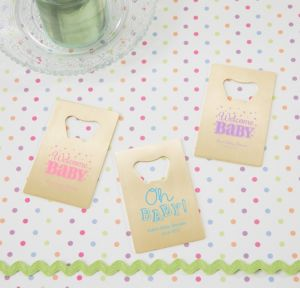Personalized Baby Shower Credit Card Bottle Openers - Gold (Printed Metal) (Pink, Baby Brights)
