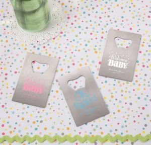 Personalized Baby Shower Credit Card Bottle Openers - Silver (Printed Metal) (Pink, Baby Brights)