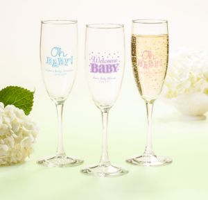Personalized Baby Shower Champagne Flutes (Printed Glass) (Pink, Baby Brights)