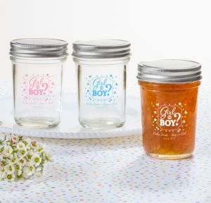 Personalized Baby Shower Mason Jars with Solid Lids (Printed Glass) (Pink, Gender Reveal)