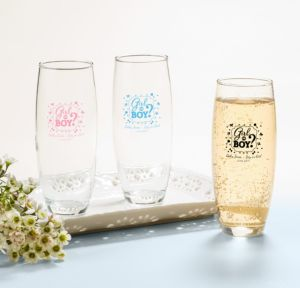 Personalized Baby Shower Stemless Champagne Flutes (Printed Glass) (Pink, Gender Reveal)