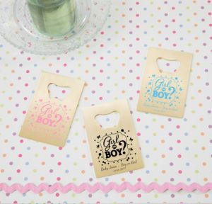Personalized Baby Shower Credit Card Bottle Openers - Gold (Printed Metal) (Sky Blue, Gender Reveal)