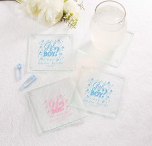 Personalized Baby Shower Glass Coasters, Set of 12 (Printed Glass) (Sky Blue, Gender Reveal)