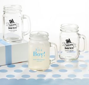 Personalized Baby Shower Mason Jar Mugs (Printed Glass) (Sky Blue, Welcome Boy)