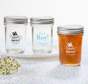 Personalized Baby Shower Mason Jars with Solid Lids (Printed Glass) (Sky Blue, Welcome Boy)