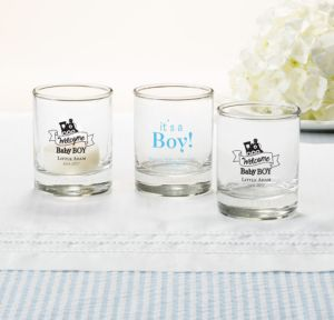 Personalized Baby Shower Shot Glasses (Printed Glass) (Sky Blue, Welcome Boy)