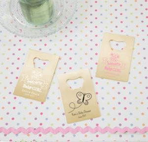 Personalized Baby Shower Credit Card Bottle Openers - Gold (Printed Metal) (White, Welcome Girl)
