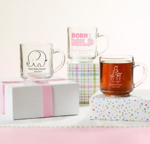 Personalized Baby Shower Glass Coffee Mugs (Printed Glass) (White, Pink Safari)