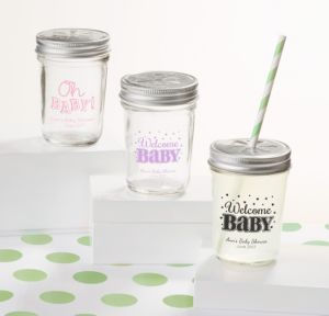 Personalized Baby Shower Mason Jars with Daisy Lids, Set of 12 (Printed Glass) (White, Baby Brights)