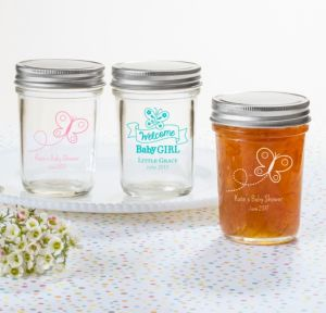 Personalized Baby Shower Mason Jars with Solid Lids (Printed Glass) (White, Welcome Girl)