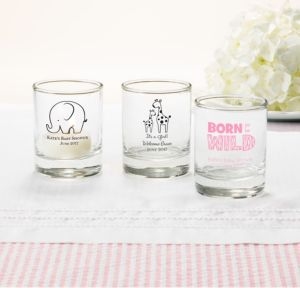 Personalized Baby Shower Shot Glasses (Printed Glass) (White, Pink Safari)