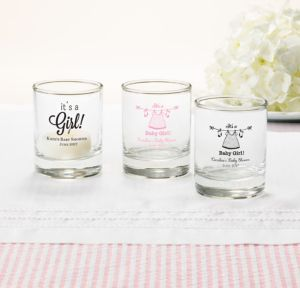 Personalized Baby Shower Shot Glasses (Printed Glass) (White, Shower Love Girl)