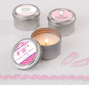 Personalized Baby Shower Wedding Candle Tins (Printed Label) (Shower Love Girl)