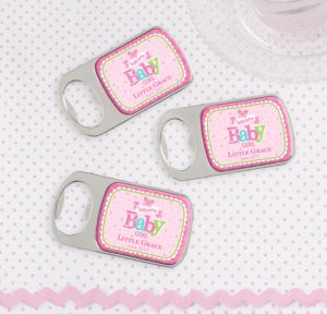 Personalized Baby Shower Bottle Openers - Silver (Printed Epoxy Label) (Welcome Girl)