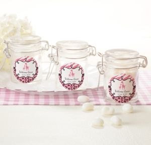 Personalized Baby Shower Small Glass Jars (Printed Label) (Pink Safari)