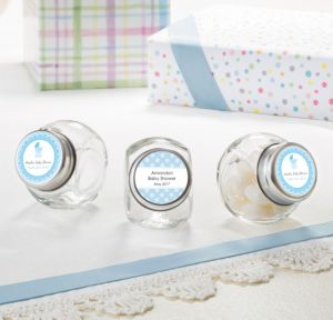 Personalized Baby Shower Small Glass Jars (Printed Label) (Celebrate Boy)