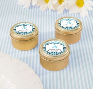 Personalized Baby Shower Round Candy Tins - Gold (Printed Label) (Gold, Blue Safari)