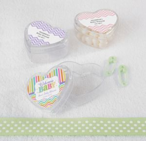 Personalized Baby Shower Heart-Shaped Plastic Favor Boxes, Set of 12 (Printed Label) (Baby Brights)