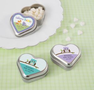 Personalized Baby Shower Heart-Shaped Mint Tins with Candy (Printed Label) (Silver, Woodland)