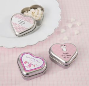 Personalized Baby Shower Heart-Shaped Mint Tins with Candy (Printed Label) (Silver, Shower Love Girl)