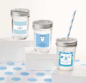 Personalized Baby Shower Mason Jars with Daisy Lids (Printed Label) (Shower Love Boy)