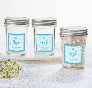 Personalized Baby Shower Mason Jars with Solid Lids (Printed Label) (Welcome Boy)