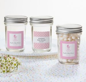 Personalized Baby Shower Mason Jars with Solid Lids (Printed Label) (Celebrate Girl)