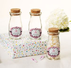 Personalized Baby Shower Glass Milk Bottles with Corks (Printed Label) (Pink Safari)