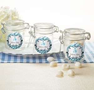 Personalized Baby Shower Glass Candy Jars (Printed Label) (Blue Safari)